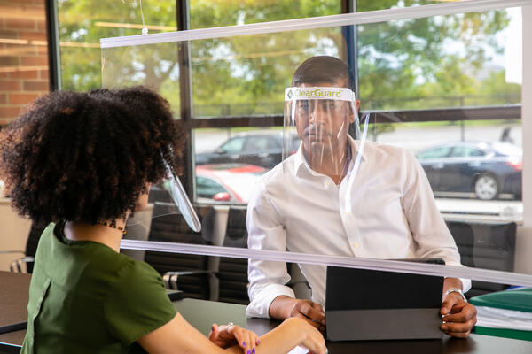 ClearGuard Face Shield in office photo