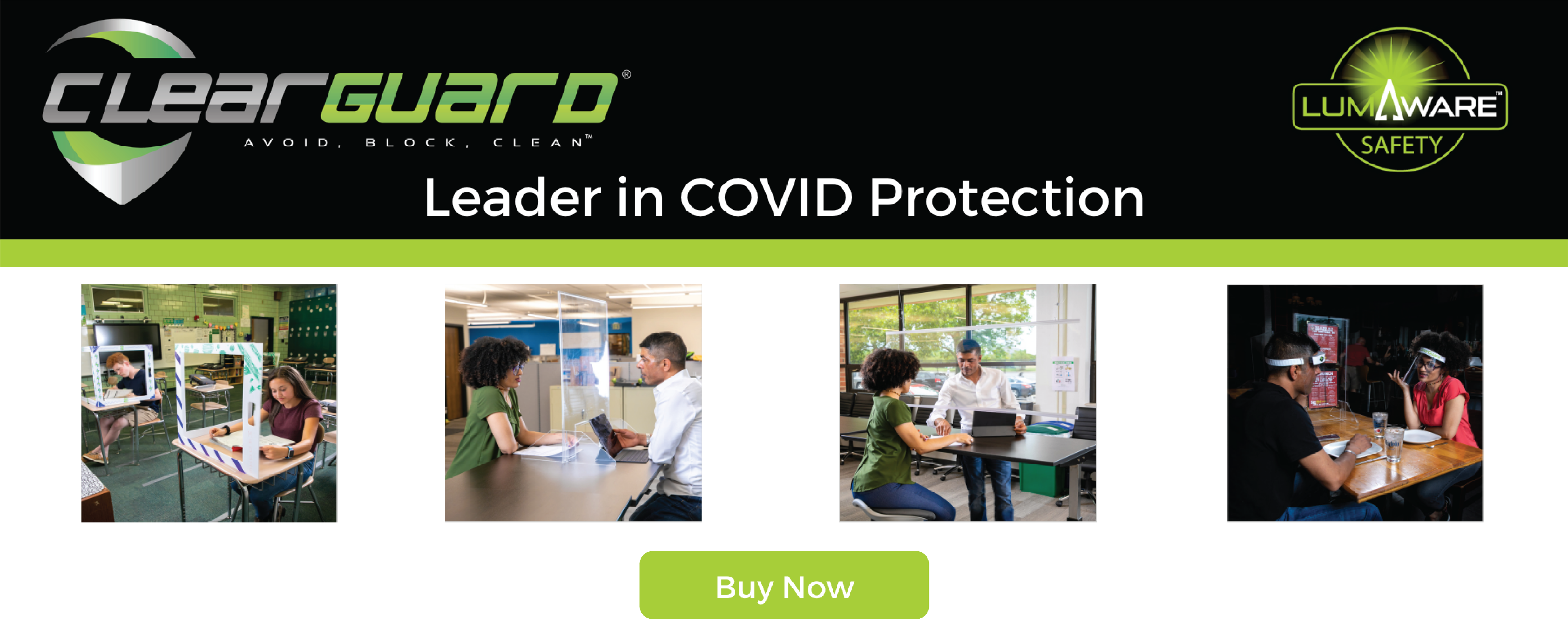 Buy Now ClearGuard Products Banner Transparent